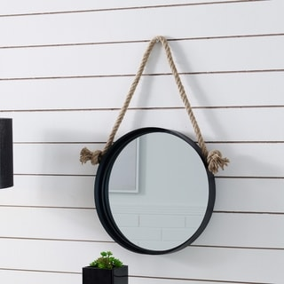 "Danya B. 15"" Black Iron Framed Round Accent Mirror with Hanging Rope"