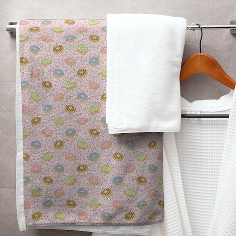 Donuts Pattern Bath Towel - 30 x 60