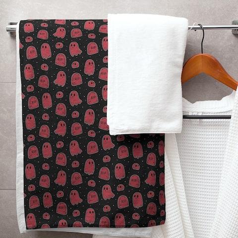 Porch & Den Hibbard Black Background Ghosts Pattern Bath Towel - 30 x 60