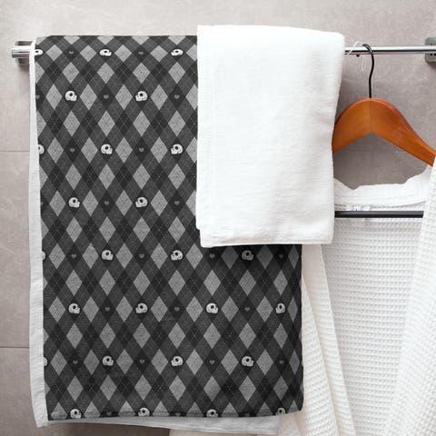 Argyle Skulls Pattern Bath Towel - 30 x 60