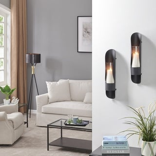 Danya B. Wall Mount Hugging Metal Candle Sconces with Glass Inserts - (Set of 2) - Black
