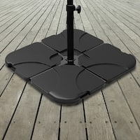 Pure Garden 220-Pound Capacity, 4-Piece Fillable Weighted Cantilever and Offset Umbrella Base with Handle (As Is Item)