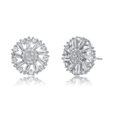 Collette Z Sterling Silver with Rhodium Plated Round and Baguette Cubic Zirconia Wreath Stud Earrings