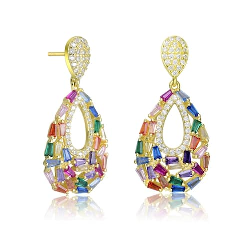 Collette Z Sterling Silver Baguette and Round Cubic Zirconia Pear Shape Drop Earrings