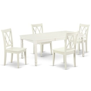 "Rectangular 60/78 Inch Table with 18"" Leaf and 4 Double X Back Chairs (Number of Chairs Option)"