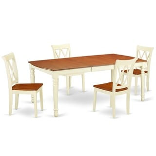 """Rectangular 60/78 Inch Table with 18"""" Leaf and 4 Double X Back Chairs (Number of Chairs Option)"""
