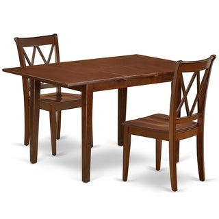 """Rectangular 48/60 Inch Table with 12"""" Leaf and 2 Double X Back Chairs (Number of Chairs Option)"""
