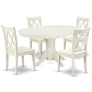 """Oval 42/60 Inch Table with 18"""" Leaf and 4 Double X Back Chairs (Number of Chairs Option)"""