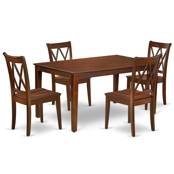 Rectangular 60 Inch Table and 4 Double X Back Chairs (Number of Chairs Option)