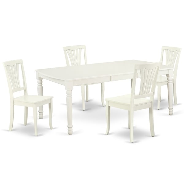 "Rectangular 60/78 Inch Table with 18"" Leaf and 4 Vertical Slatted Chairs (Number of Chairs Option)"