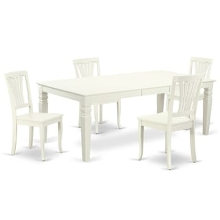 "Rectangular 66/84 Inch Table with 18"" Leaf and 4 Vertical Slatted Chairs (Number of Chairs Option)"