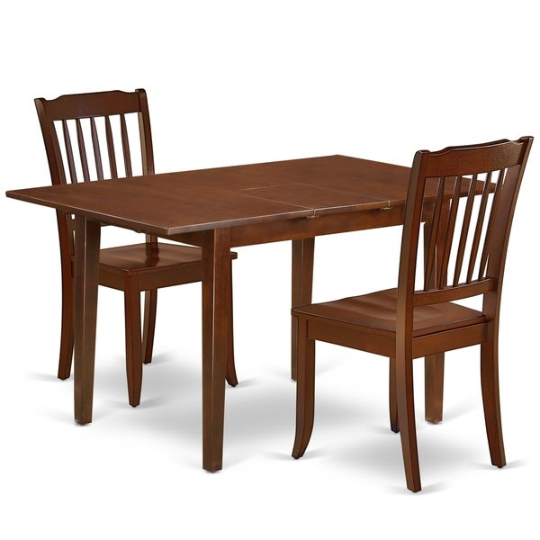"""Rectangular 48/60 Inch Table with 12"""" Leaf and 2 Vertical Slatted Chairs (Number of Chairs Option)"""