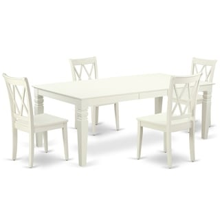 "Rectangular 66/84 Inch Table with 18"" Leaf and 4 Double X Back Chairs (Number of Chairs Option)"