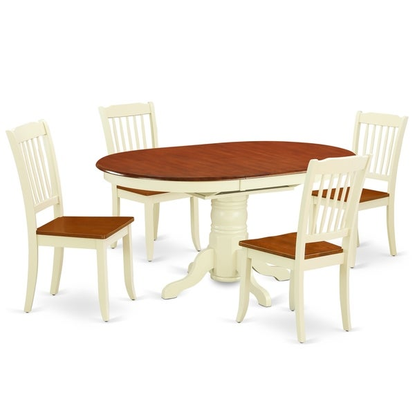 "Oval 42/60 Inch Table with 18"" Leaf and 4 Vertical Slatted Chairs (Number of Chairs Option)"