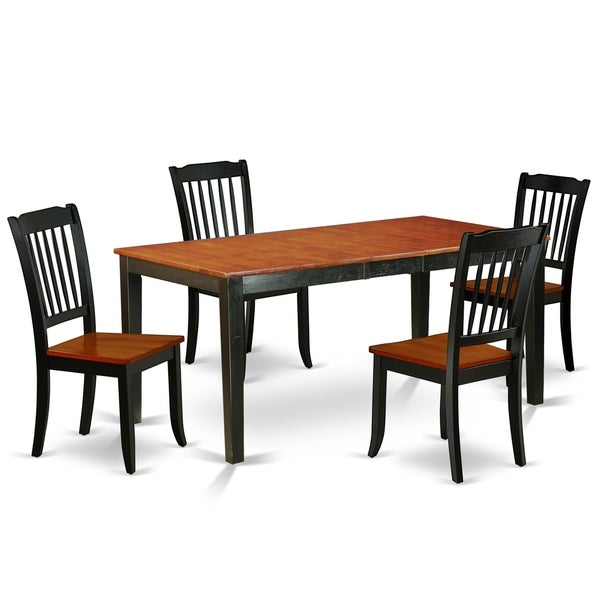 """Rectangular 54/66 Inch Table with 12"""" Leaf and 4 Vertical Slatted Chairs (Number of Chairs Option)"""