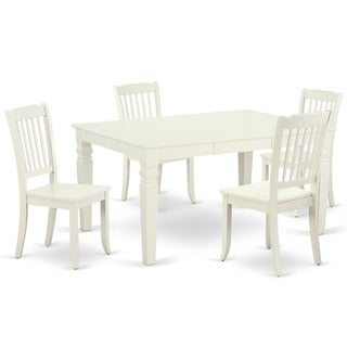 """Rectangular 42/60 Inch Table with 18"""" Leaf and 4 Vertical Slatted Chairs (Number of Chairs Option)"""