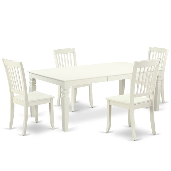 """Rectangular 66/84 Inch Table with 18"""" Leaf and 4 Vertical Slatted Chairs (Number of Chairs Option)"""