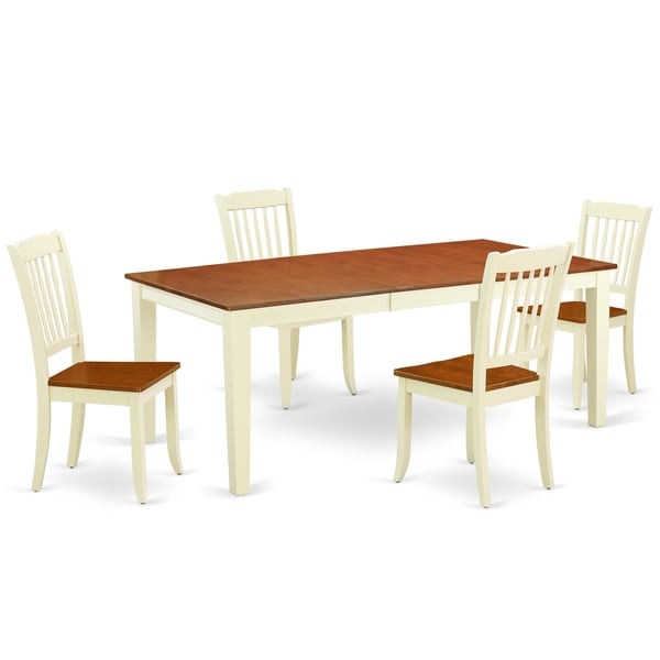 """Rectangular 60/78 Inch Table with 18"""" Leaf and 4 Vertical Slatted Chairs (Number of Chairs Option)"""
