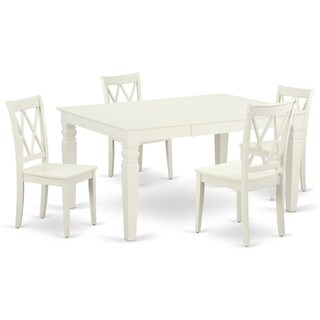 "Rectangular 42/60 Inch Table with 18"" Leaf and 4 Double X Back Chairs (Number of Chairs Option)"