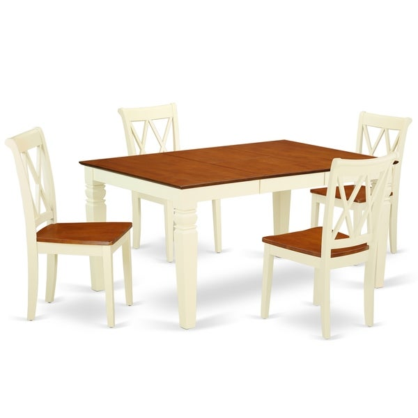 """Rectangular 42/60 Inch Table with 18"""" Leaf and 4 Double X Back Chairs (Number of Chairs Option)"""
