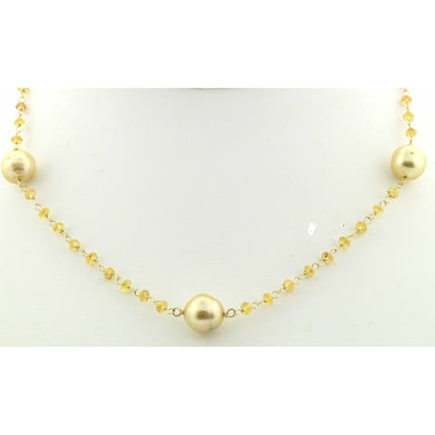 Yellow Sapphire roundels and Golden South Sea Pearls wire wrapped in 14 kt yellow gold.
