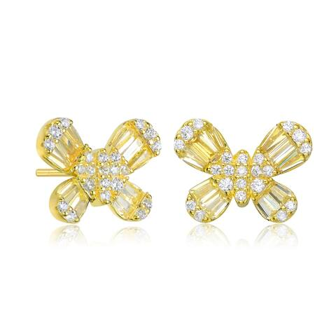 Collette Z Sterling Silver Baguette and Round Cubic Zirconia Butterfly Stud Earrings