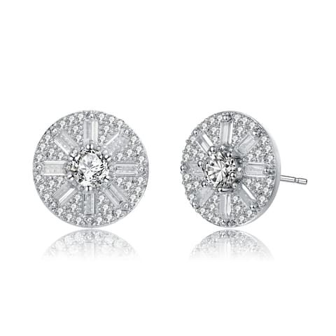 Collette Z Sterling Silver with Rhodium Plated Baguette and Round Cubic Zirconia Stud Earrings
