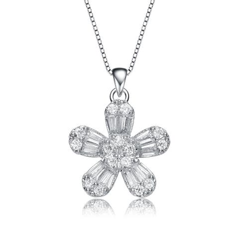Collette Z Sterling Silver Cubic Zirconia Flower Style Pendant Necklace