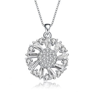 Collette Z Sterling Silver Round And Baguette CZ Wreath Pendant Necklace