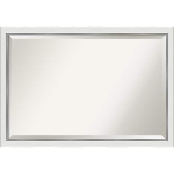 Eva White Silver Narrow Bathroom Vanity Wall Mirror