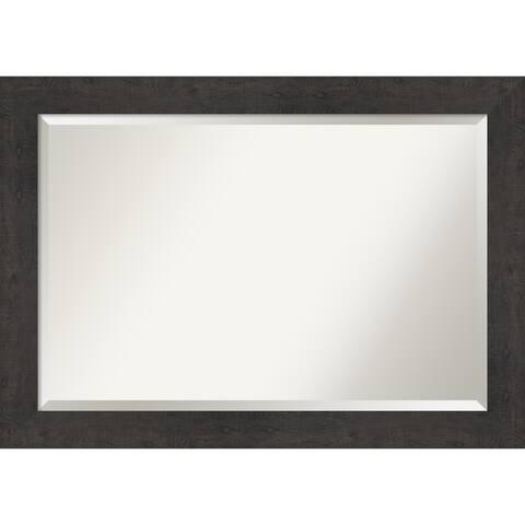 Rustic Plank Espresso Bathroom Vanity Wall Mirror