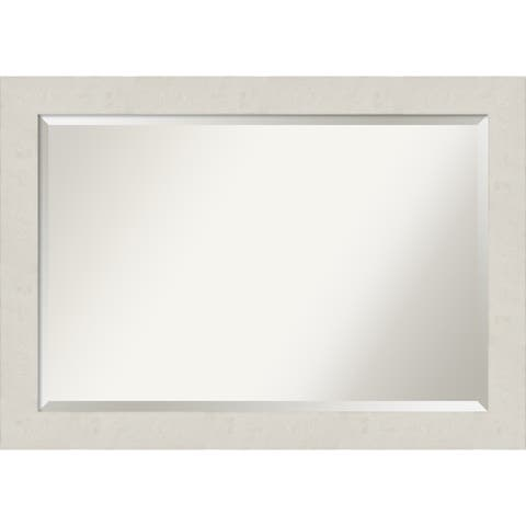 Rustic Plank White Bathroom Vanity Wall Mirror