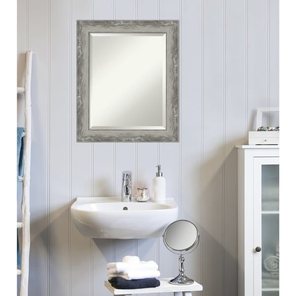 Narrow Bathroom Wall Storage: Shop Waveline Silver Narrow Bathroom Vanity Wall Mirror