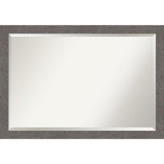 Rustic Plank Grey Narrow Bathroom Vanity Wall Mirror