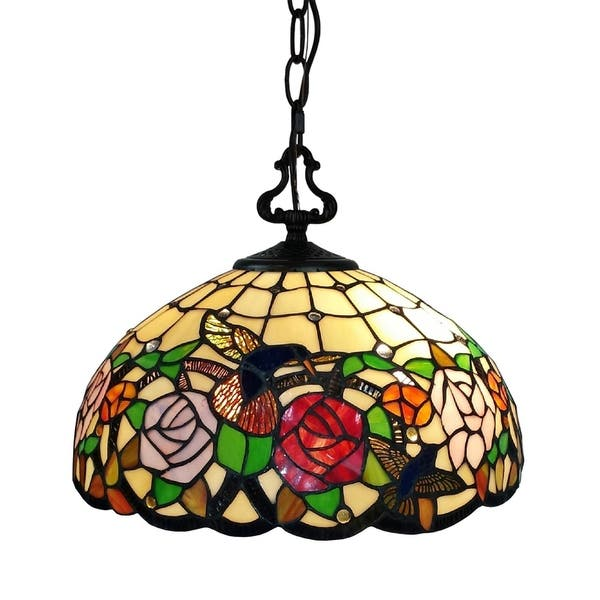 Tiffany Style Hanging Pendant Lamp 16 Wide Stained Glass Shade Nightstand Game Room Ceiling Fixture Am019hl16b Amora Lighting