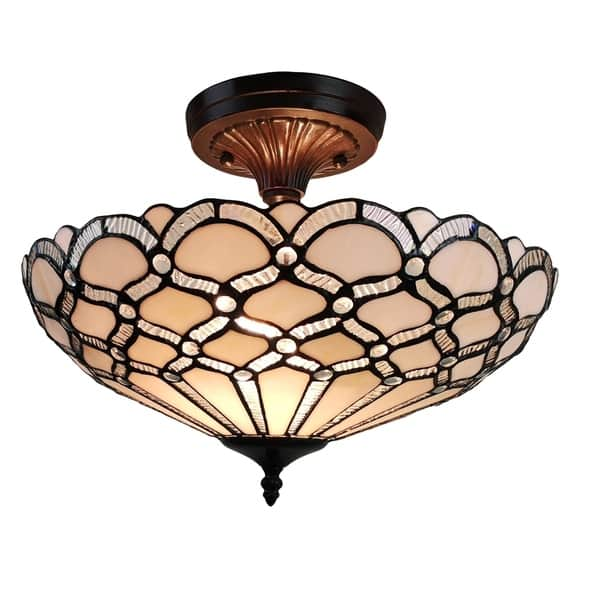 Tiffany Style Ceiling Fixture Lamp Jeweled 17 Wide Stained Glass White Bedroom Hallway Gift Am108cl17b Amora Lighting