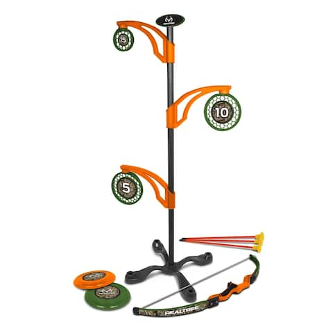 NKOK RealTree Games 2-in-1 Toy Flying Disc & Archery Target Set