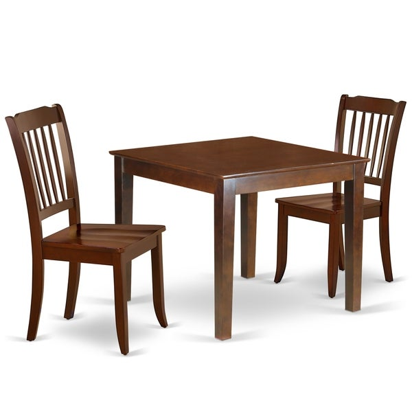 Square 36 Inch Table and 2 Vertical Slatted Chairs (Number of Chairs Option)