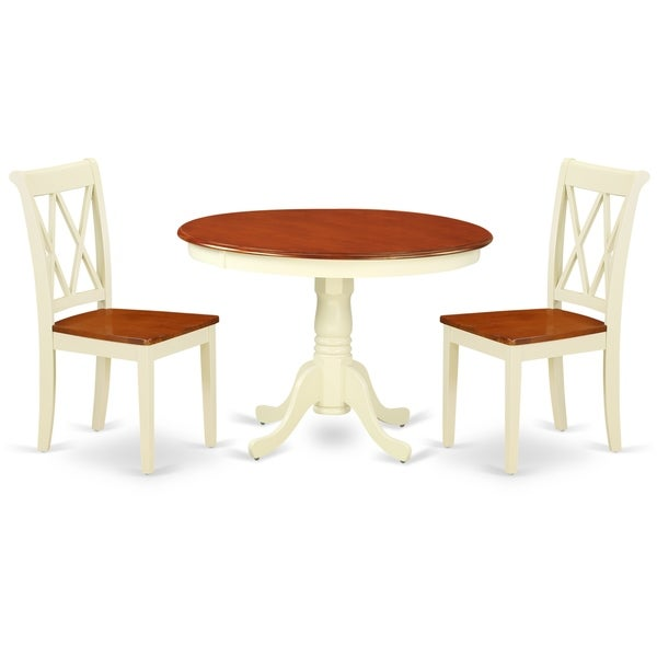 Round 42 Inch Table and 2 Double X Back Chairs (Number of Chairs Option)