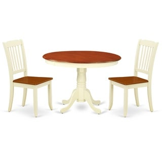 Round 42 Inch Table and 2 Vertical Slatted Chairs (Number of Chairs Option)