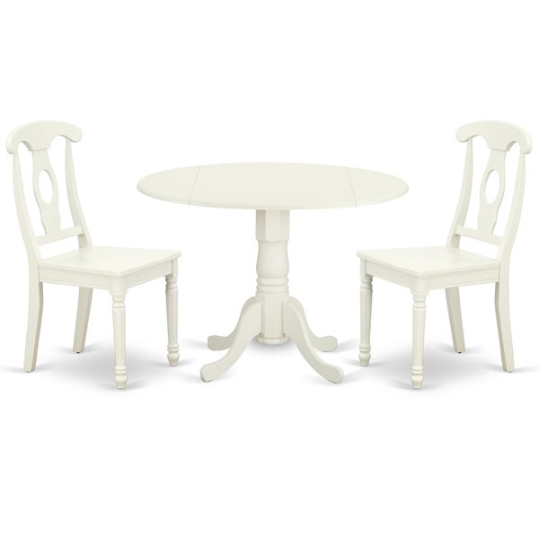 Round 42 Inch Table with Two 9-Inch Drop Leaves and 2 Panel Back Chairs (Number of Chairs Option)