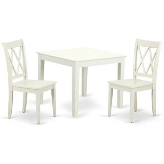 Square 36 Inch Table and 2 Double X Back Chairs (Number of Chairs Option)