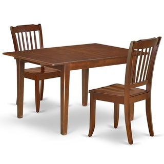 """Rectangular 42/54 Inch Table with 12"""" Leaf and 2 Vertical Slatted Chairs (Number of Chairs Option)"""