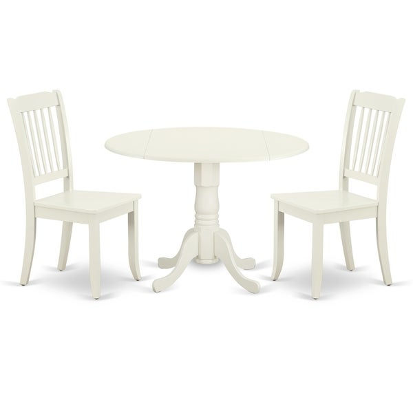 Round 42 Inch Table with Two 9-Inch Drop Leaves and 2 Vertical Slatted Chairs (Number of Chairs Option)