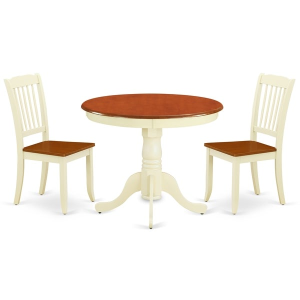 Round 36 Inch Table and 2 Vertical Slatted Chairs (Number of Chairs Option)