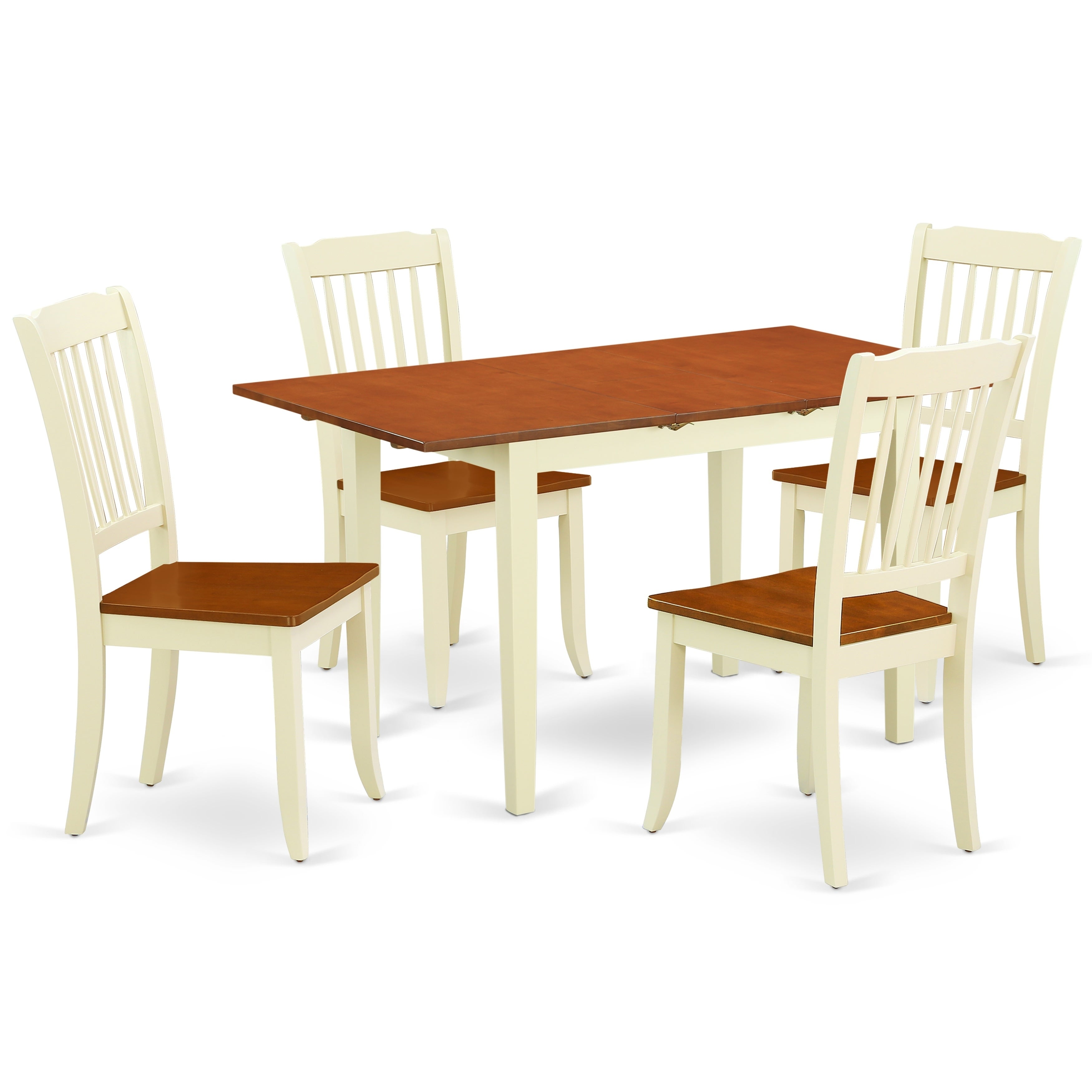 Rectangular 42 53 5 Inch Table With 12 Leaf And 2 Vertical Slatted Chairs Number Of Option