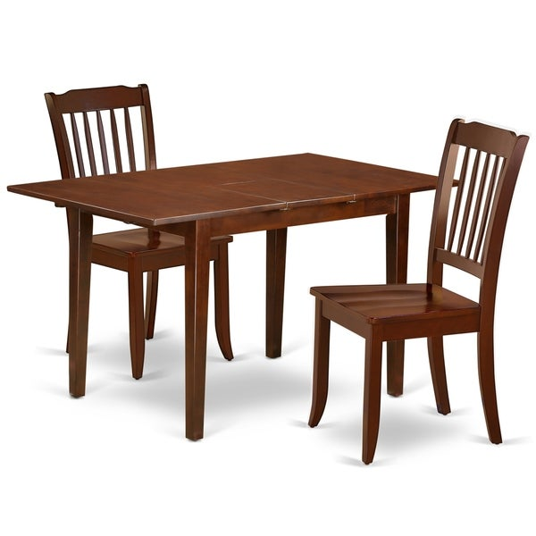 "Rectangular 42/53.5 Inch Table with 12"" Leaf and 2 Vertical Slatted Chairs (Number of Chairs Option)"