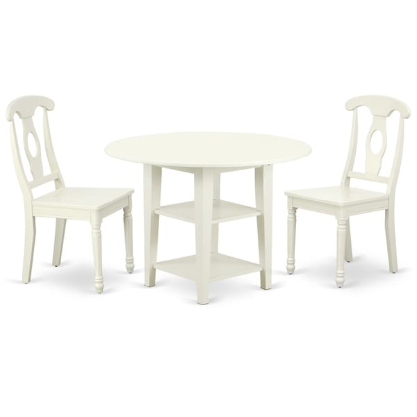 Round 20/42 Inch Table with Two11-Inch Drop Leaves and 2 Panel Back Chairs (Number of Chairs Option)