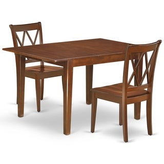 """Rectangular 42/54 Inch Table with 12"""" Leaf and 2 Double X Back Chairs (Number of Chairs Option)"""