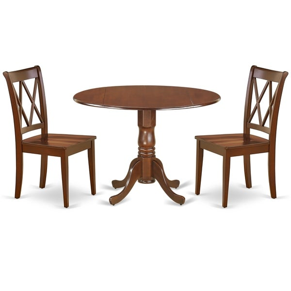 Round 42 Inch Table with Two 9-Inch Drop Leaves and 2 Double X Back Chairs (Number of Chairs Option)